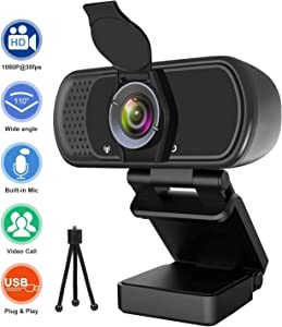 Webcam 1080p, Wide Angle Web Camera with Microphone, USB External Camera for Computer Monitor MacBook PC Laptop Desktop, HD Face Cam for Streaming