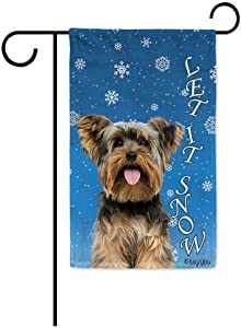 BAGEYOU Let It Snow with My Love Dog Lovely Yorkshire Terrier Yorkie Decorative Garden Flag for Outside Happy Winter Holiday Puppy Snowflake Yard Banner 12.5X18 Inch Printed Double Sided