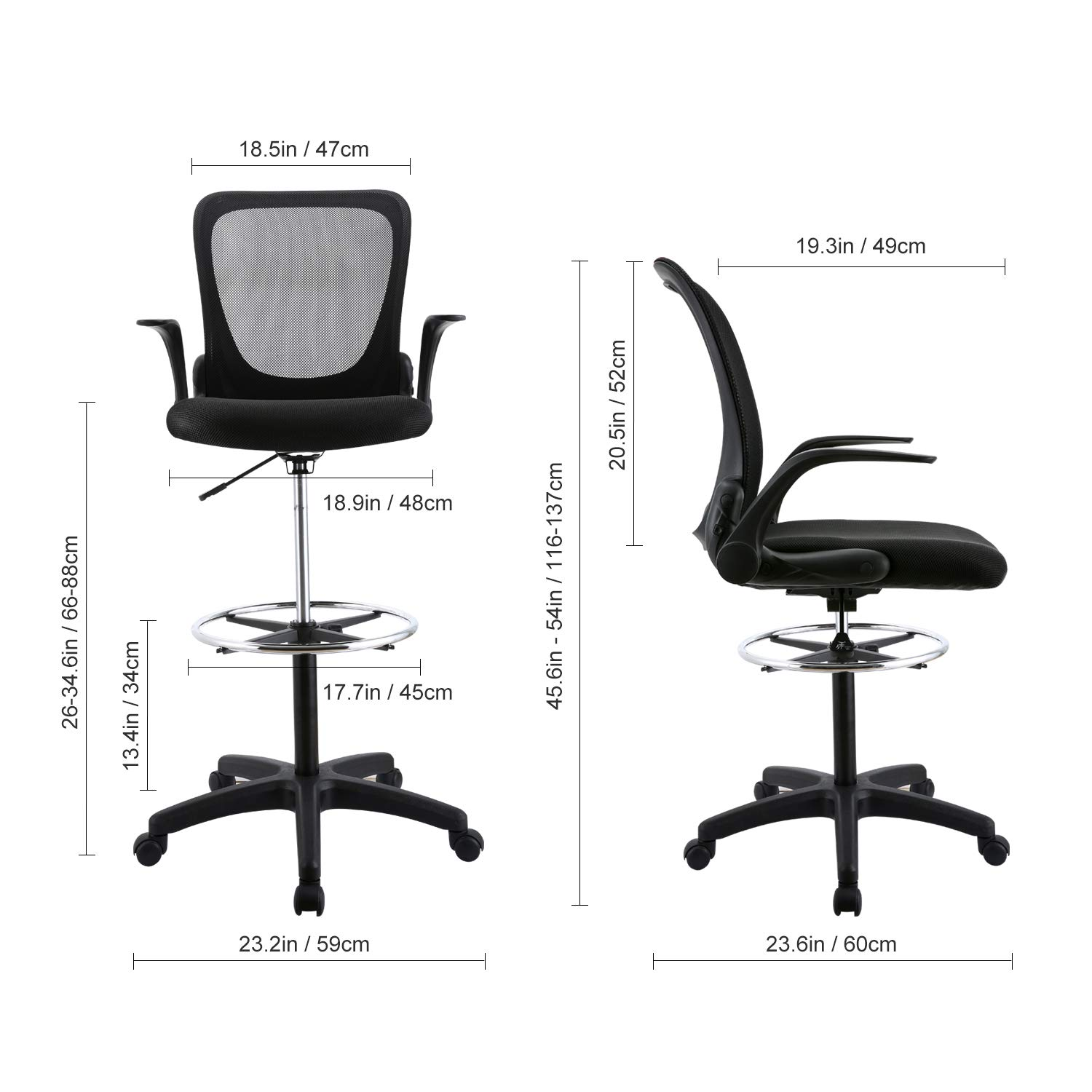YOUNIS Drafting Chair with Black Fabric Seat, Adjustable Armrest and Foot Ring, Black Breathable mesh backrest, Reception Desk Chair, Tall Office Chair by YOUNIS (Image #2)
