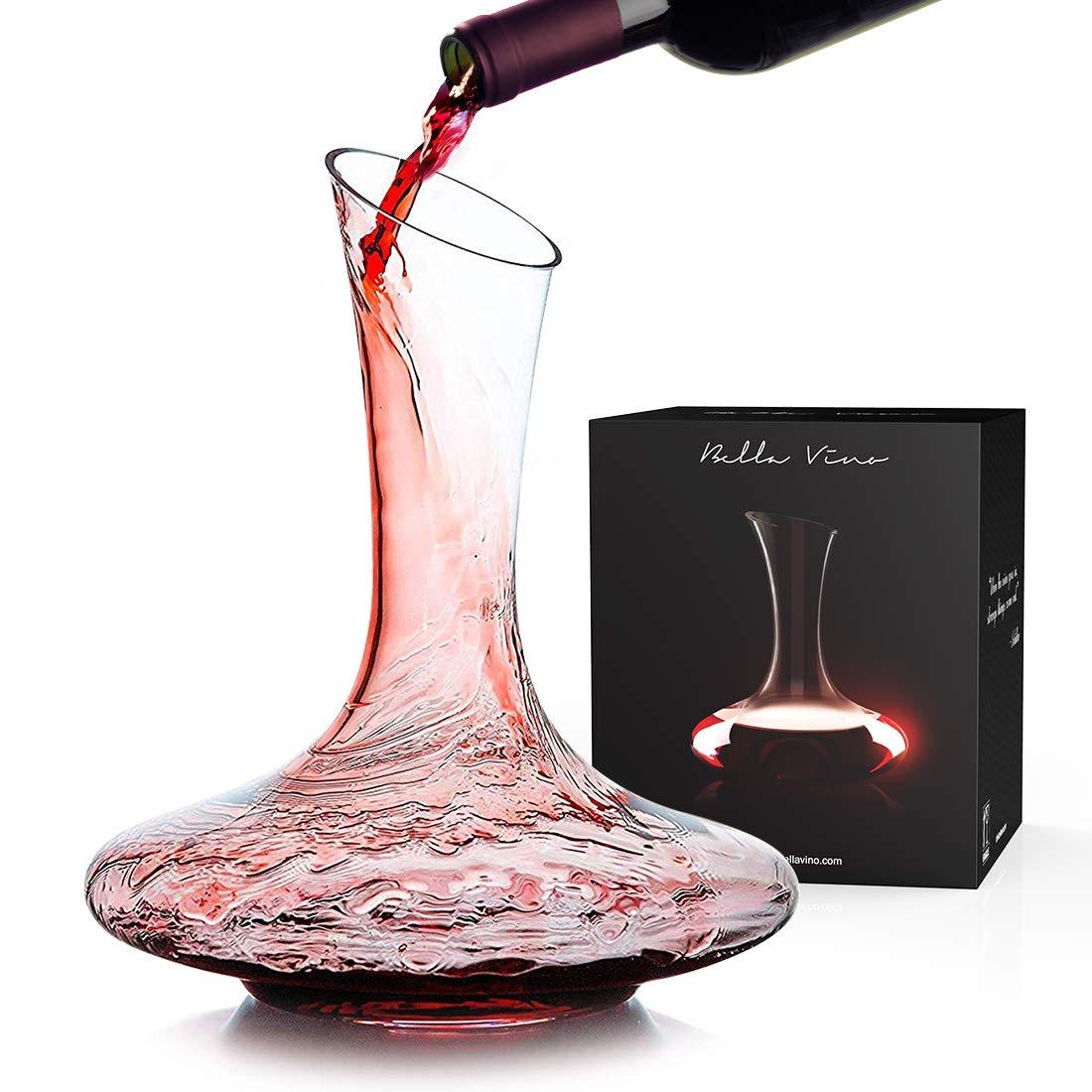 KOIOS Wine Decanter-100% Hand Blown Lead-Free crystal Glass Wine Decanter, Red Wine Carafe, Wine Accessories, Wine Gift (1200ml)