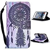 LEECO iPod Touch 5 6th Case,Fashion Synthetic PU Leather Wallet Type Magnet Design Flip Stand Case Cover for Apple iPod Touch 5 6th Generation + Send 1 Stylus PenBlack Wind Chimes)