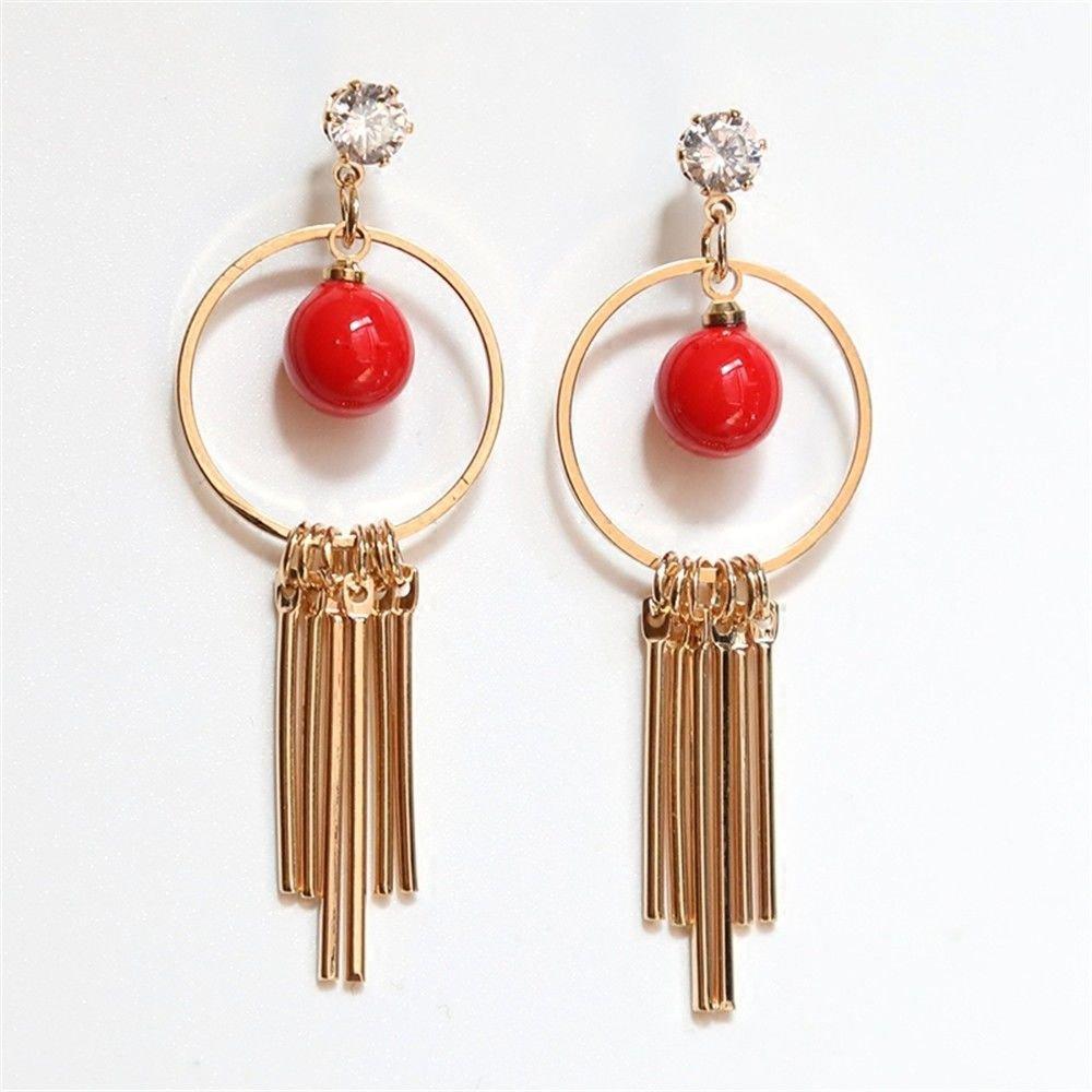 Ling Studs Earrings Hypoallergenic Cartilage Ear Piercing Simple Fashion Earrings Ear Jewelry Summer Earrings Ring Long Earrings, Red