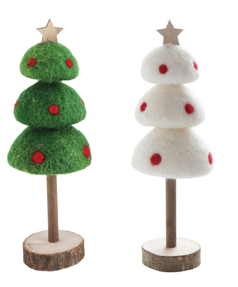Heart of America 2 Assorted Large Wool Felt Trees On Wood Slice Bases - 2 Pieces