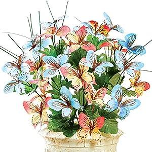 Artificial Butterfly Orchid Floral Bouquet Bush Centerpiece Arrangement, Blue/Orange 12