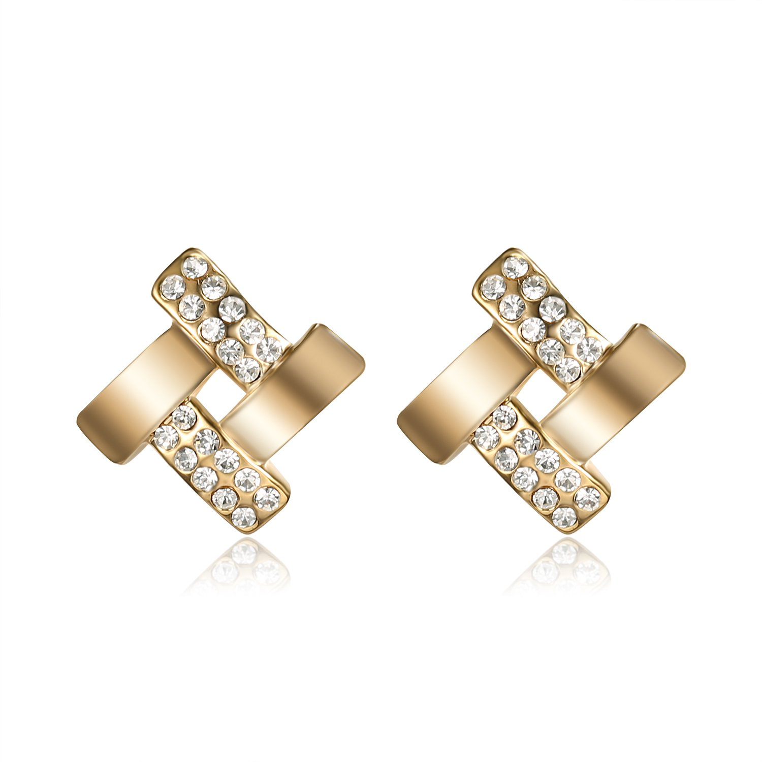 Lee Island Fashion Jewelry 18K Gold Plated Austrian Crystal Love Knot Stud Earrings For Woman Girl Gift-Gift Packing MSRP USD 120 EH0007