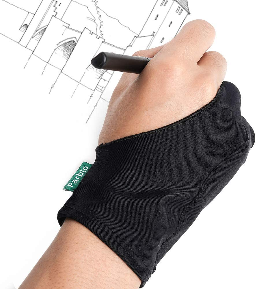 Parblo PR-05 Drawing Glove, Two Fingers Gloves for Graphics Drawing Tablet, Pen Display, Tablets, Displays, Art Painting, Surface Protection