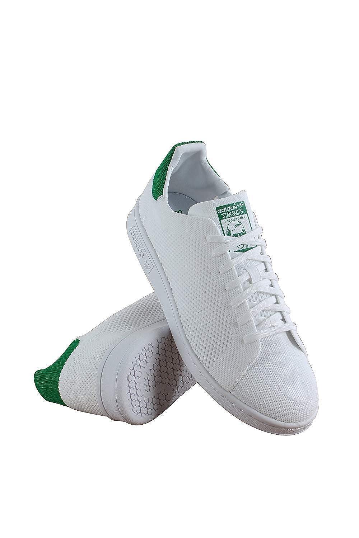 lowest price 1a23b 8aa0a adidas Stan Smith Primeknit (Kids) (4.5 (M) US Big Kids, Cloud White/Cloud  White/Green)
