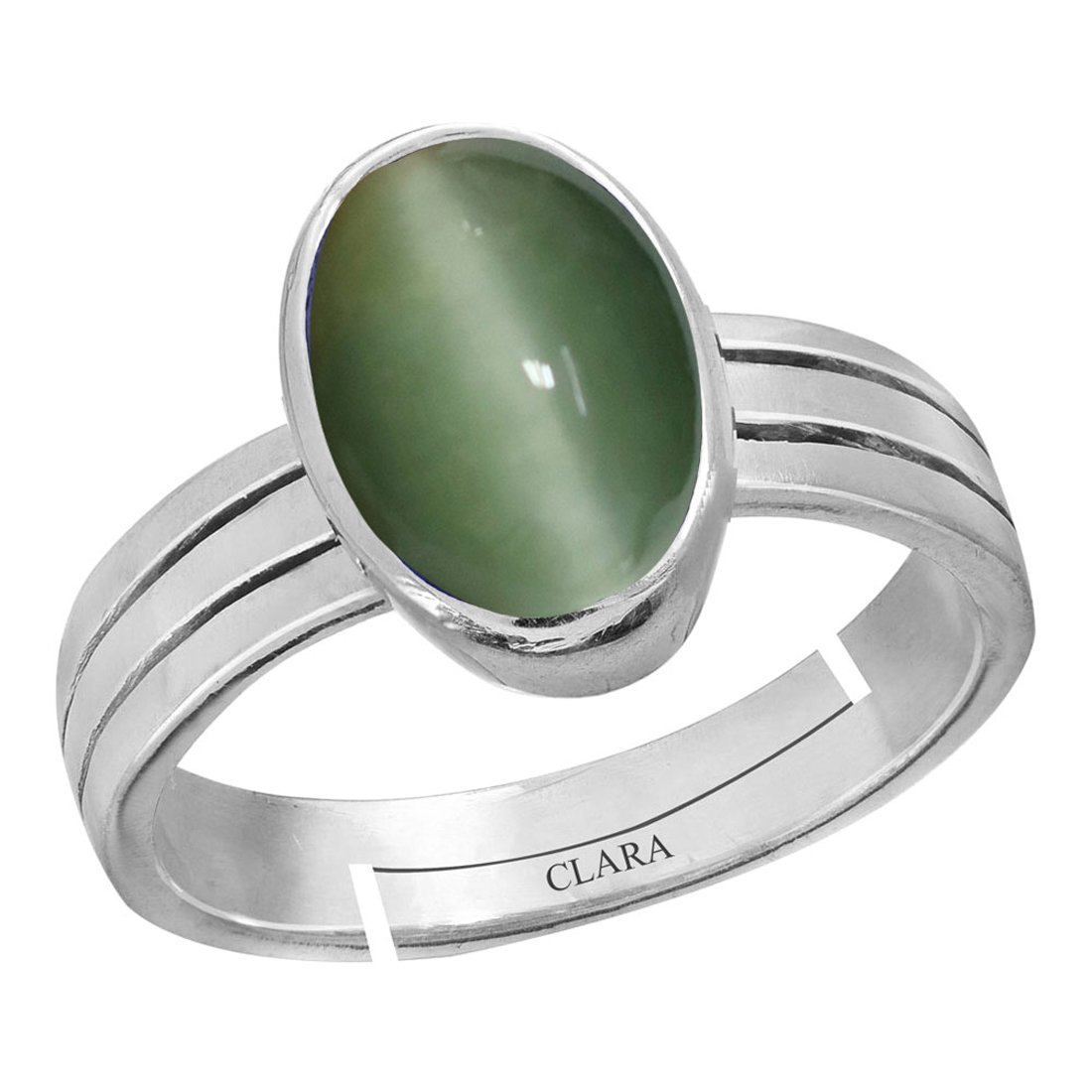 Buy Clara Cat S Eye Lehsunia 4 8cts Or 5 25ratti Stone Silver Adjustable Ring For Men At Amazon In