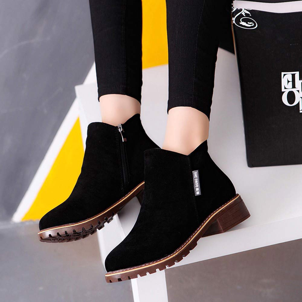 Hunzed women shoes Suede Pointed Low Heel Shoes Ladies Short Boots