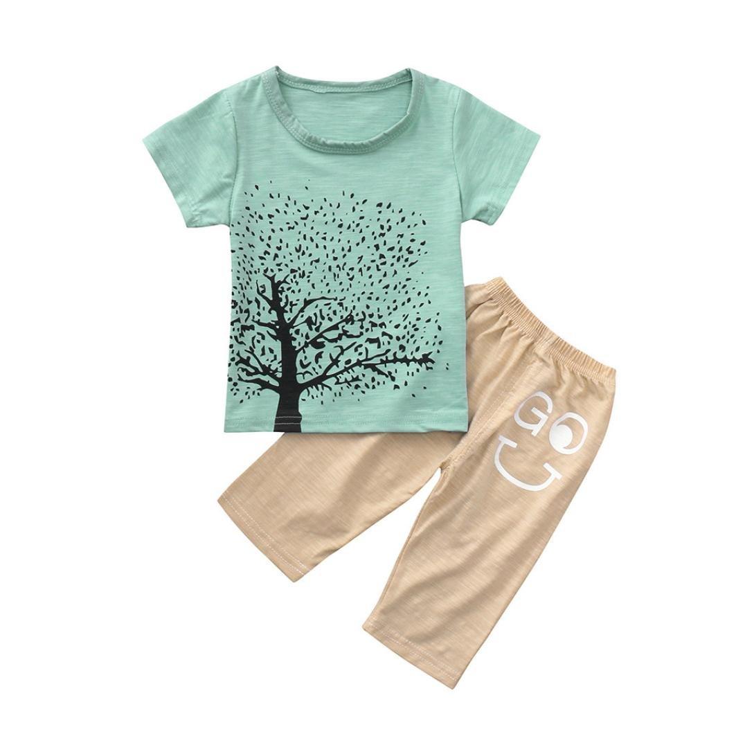 KaiCran Little Boys Cartoon Tree Print Set Short Sleeved T-Shirt Letter Printing Pants Two-Piece Suit