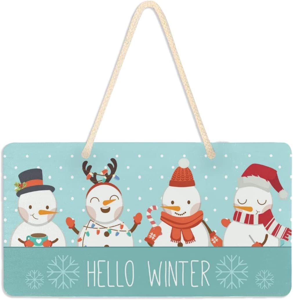 Cute Snowman Door Sign Hanger Home Wall Decor Hello Winter and Friends The Blue Frame Say Flat Wall Art Plaque 6x11 Inches Printed Hanging Poster Scroll Banner for Kitchen Living Room,Bedroom,Party