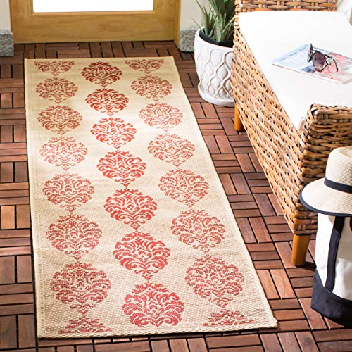 Safavieh Courtyard Collection CY2720-3701 Natural and Red Indoor/ Outdoor Runner (2'3
