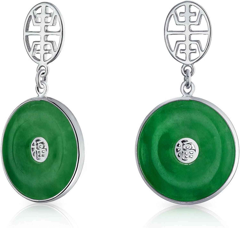 Círculo Asiático Es Símbolo Buena Fortuna Teñido Verde Jade Colgante Del Disco Gota Pendiente Plata Esterlina 925 Mujer