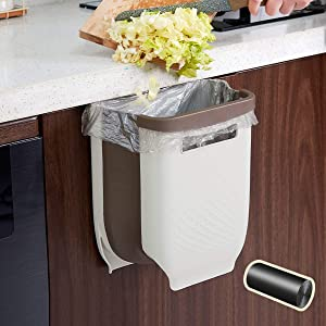 AYADA Kitchen Folding Trash Can, Hanging Collapsible Garbage Can Door Mount Wall Mount Over Cabinet Door Drawer Counter Small Foldable Creative RV 9L Plastic Hook Waste Bin Basket with Garbage Bag
