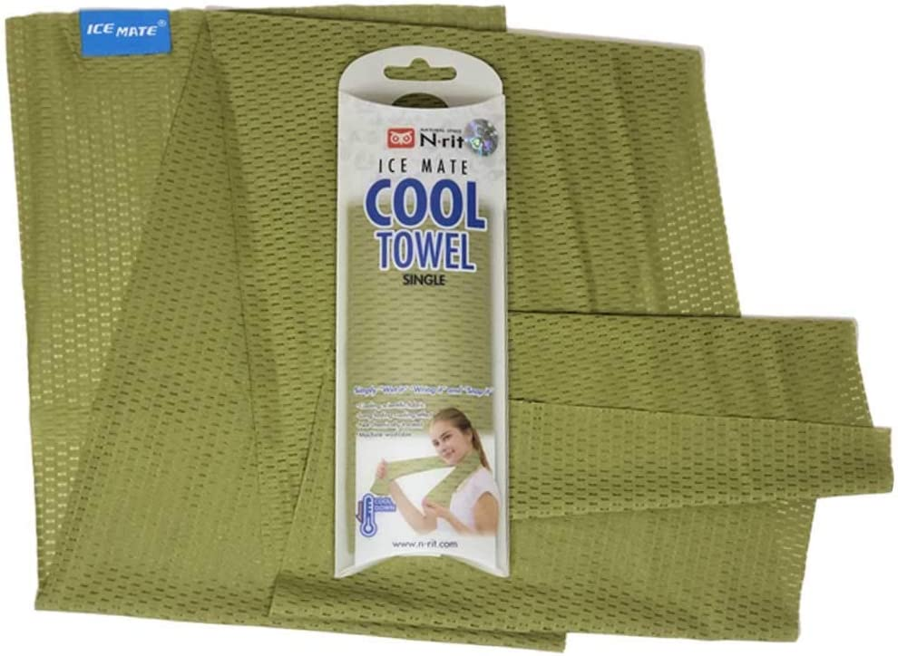 N-rit ICE Mate Cool Towel [Highly Advanced Cooling Effect] - Great Cooling Towel for Athletes, Sports, Fitness, Workout, Gym, Running, Camping, Yoga, etc. Designed for All Sports Players (OD.Green)
