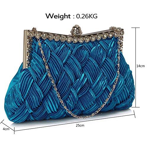 ANNA GRACE - Cartera de mano de Satén para mujer Design 1 - Royal Blue