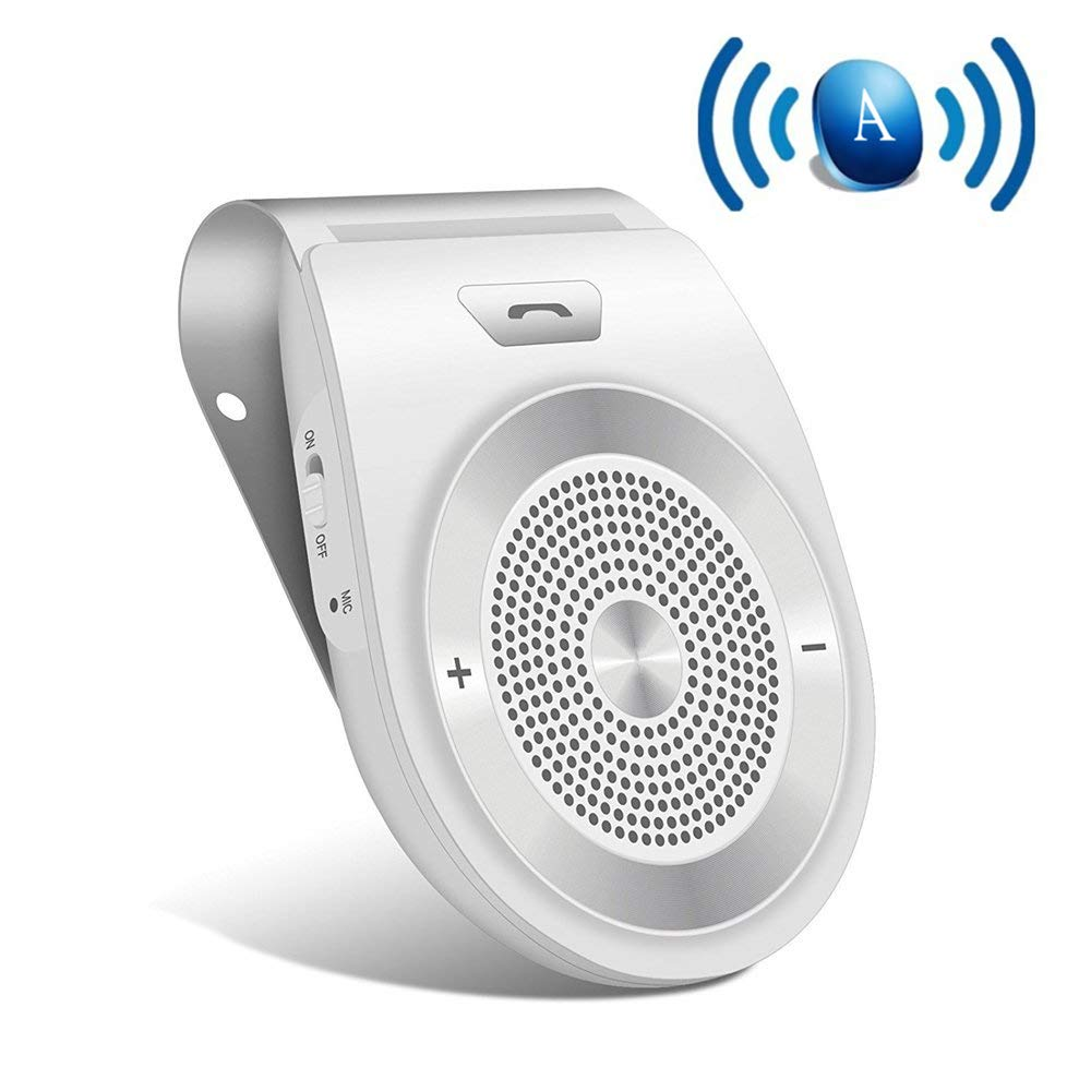 Bluetooth Car Speaker with Siri,Bluetooth 4.1 Hands-Free Motion AUTO-ON in Car Kit Stereo Music Speaker Wireless Sun Visor Audio Receiver Player Adapter Connect 2 Phones at Same Time