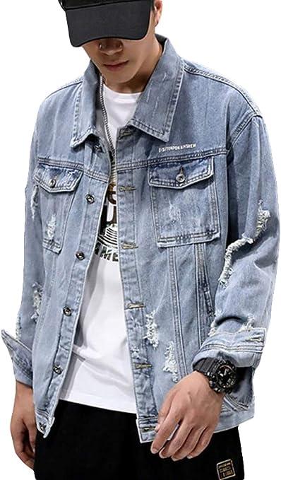 [TAITENG]デニムジャケット メンズ アウター ジージャン カジュアル ダメージ加工 デニム ジャケット 上着 ゆったり コート 春 大きいサイズ Gジャン ストリート系