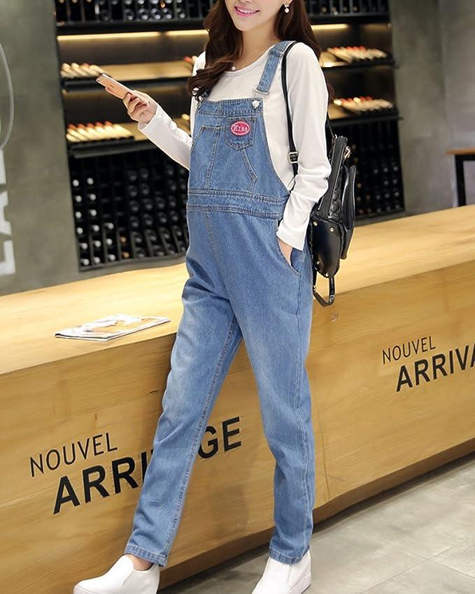 7dba4afb3 Peto Premamá Vaquero Mono Pantalones Vaqueros Embaraza Ropa Tejanos Azul  Claro XL  Amazon.es  Ropa y accesorios