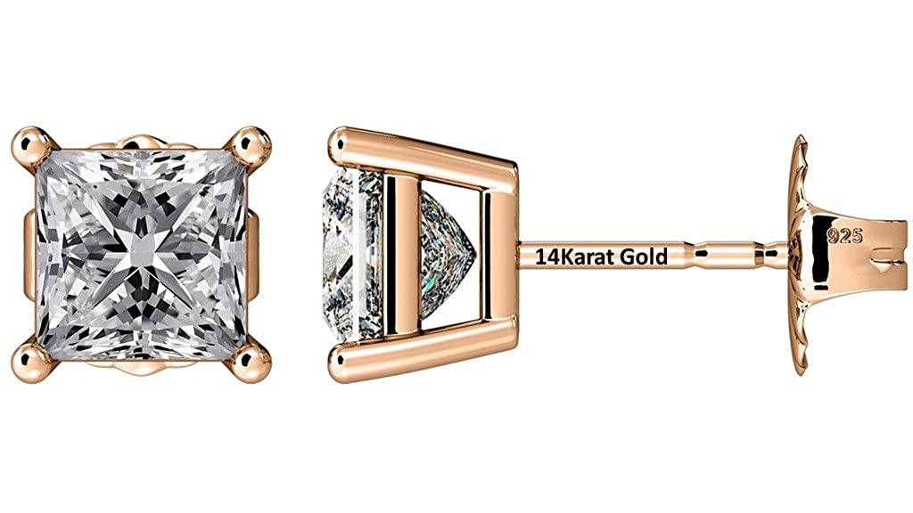 NANA Princess Cut Stud Earrings Swarovski Zirconia Sterling Silver-Hypoallergenic-Extra Large7.00mm Backs Central Diamond Center UK_B01M9CQQLB