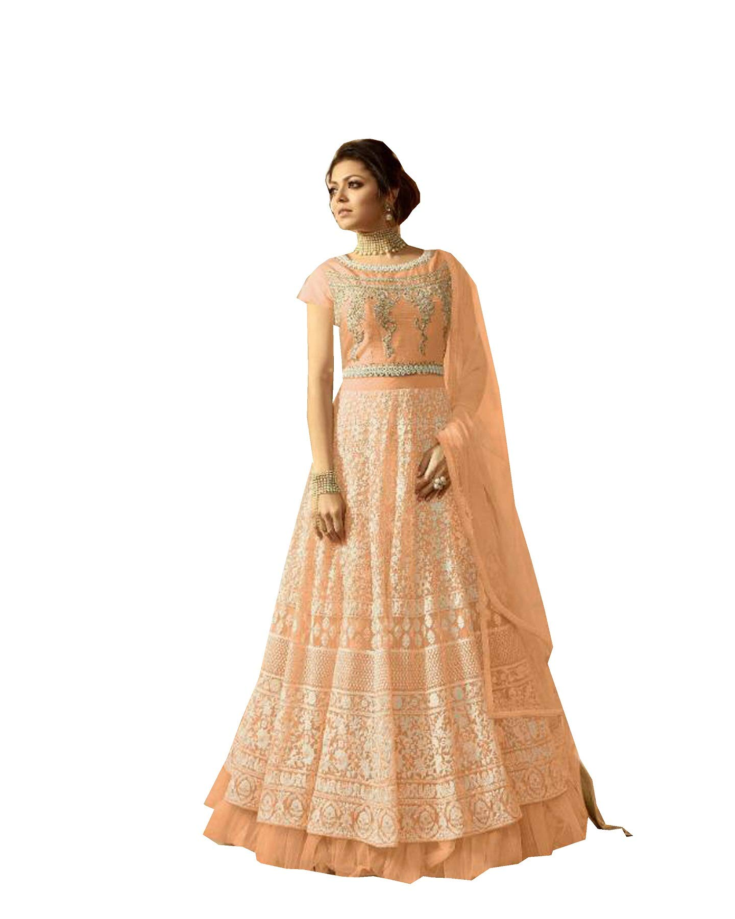 Queen Fashion New Indian Collectoin Woman Wear Embroidered Anarkali Gown LT 2804 (Peach, XL-44)