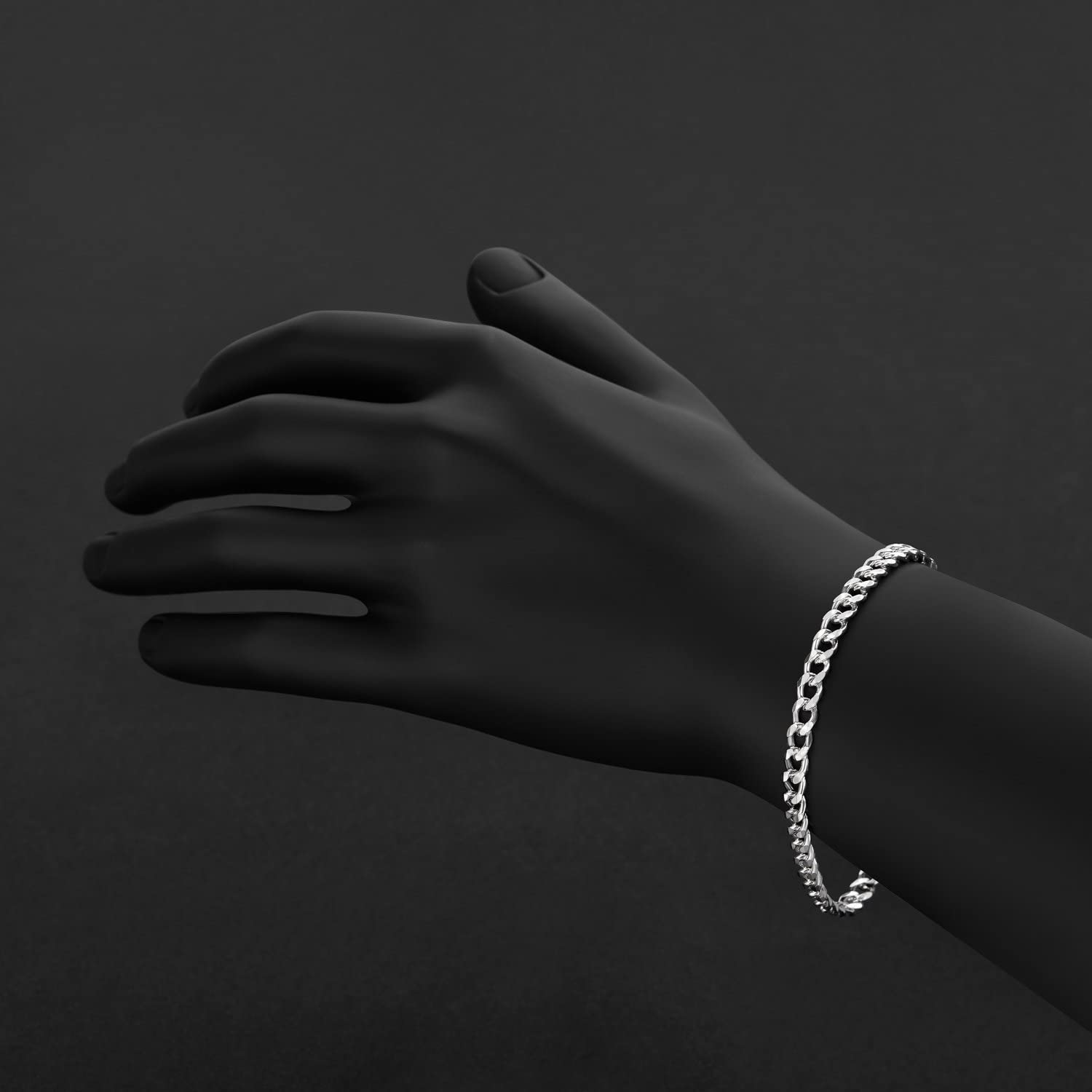 Beveled Curb Chain Bracelet Nickel Free 7-11 5mm High-Polished .925 Sterling Silver