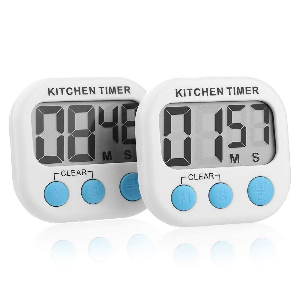 Digital Kitchen Timer Phaedra FU 2 Pack Cooking Timer Big Loud Alarm, Retractable Stand, Minute Second Count up Countdown
