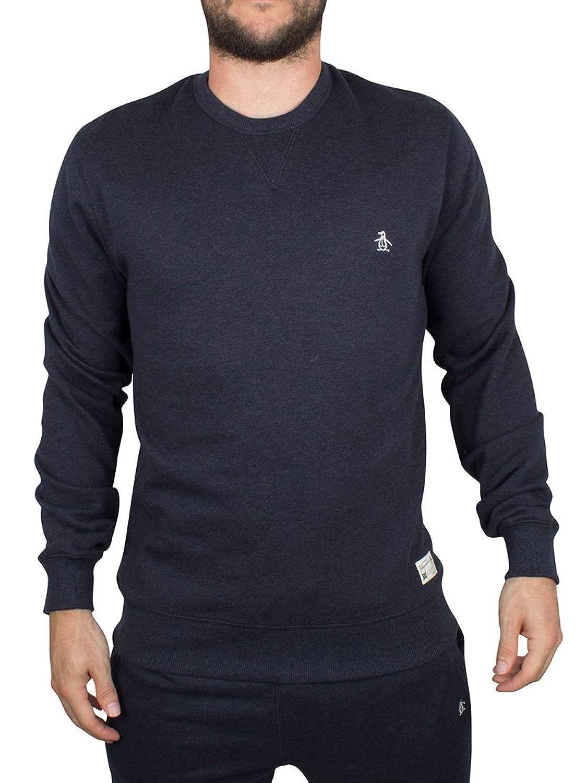 Original Penguin Herren Marl Loopback-Logo-Sweatshirt, Blau