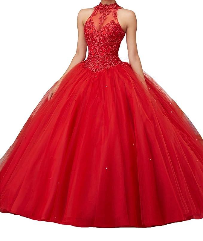 Amazon.com: Yang Women High Neck Lace Royal Ball Prom vestido de 15 Quinceanera Dress: Clothing