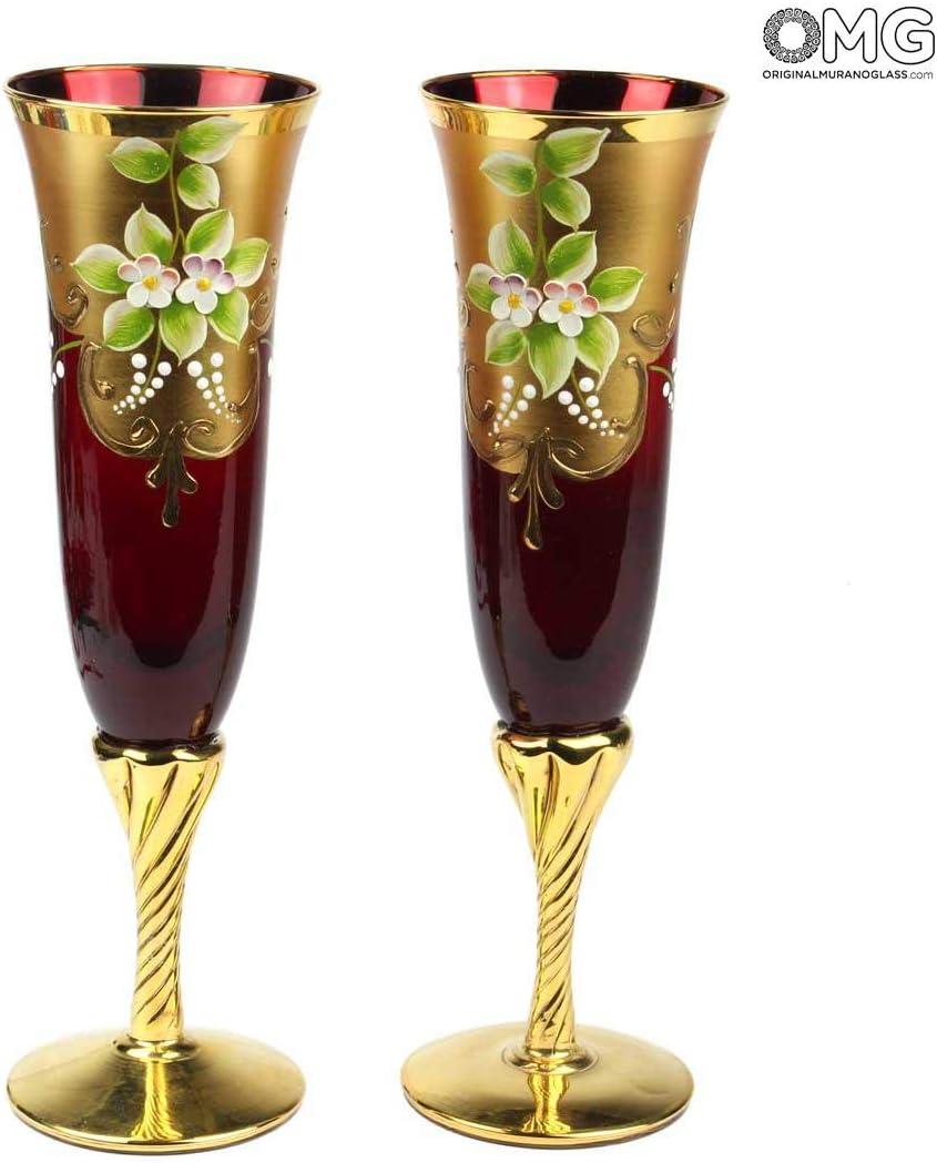 Juego de 2 Copas de trefochi, Flauta roja, You&Me, Cristal de Murano Original