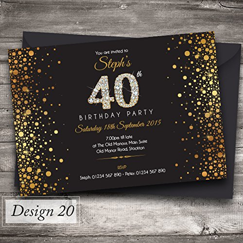 40th birthday party invitations 20 pack amazon kitchen 50 personalised birthday invitations party invites choose from 39 stunning designs 18th 21st 30th stopboris Image collections