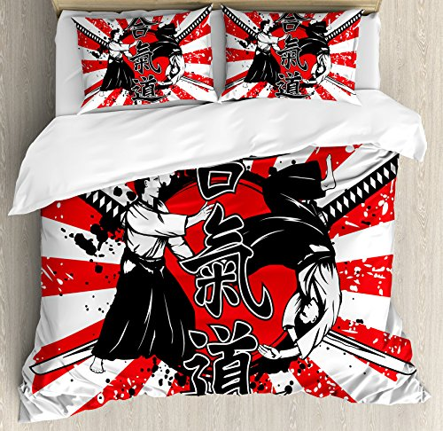 Ambesonne Japanese Duvet Cover Set Queen Size, Crossed Samurai Hieroglyph Background Two Ronin Aikido Eastern Fight Style, Decorative 3 Piece Bedding Set with 2 Pillow Shams, Orange Black White