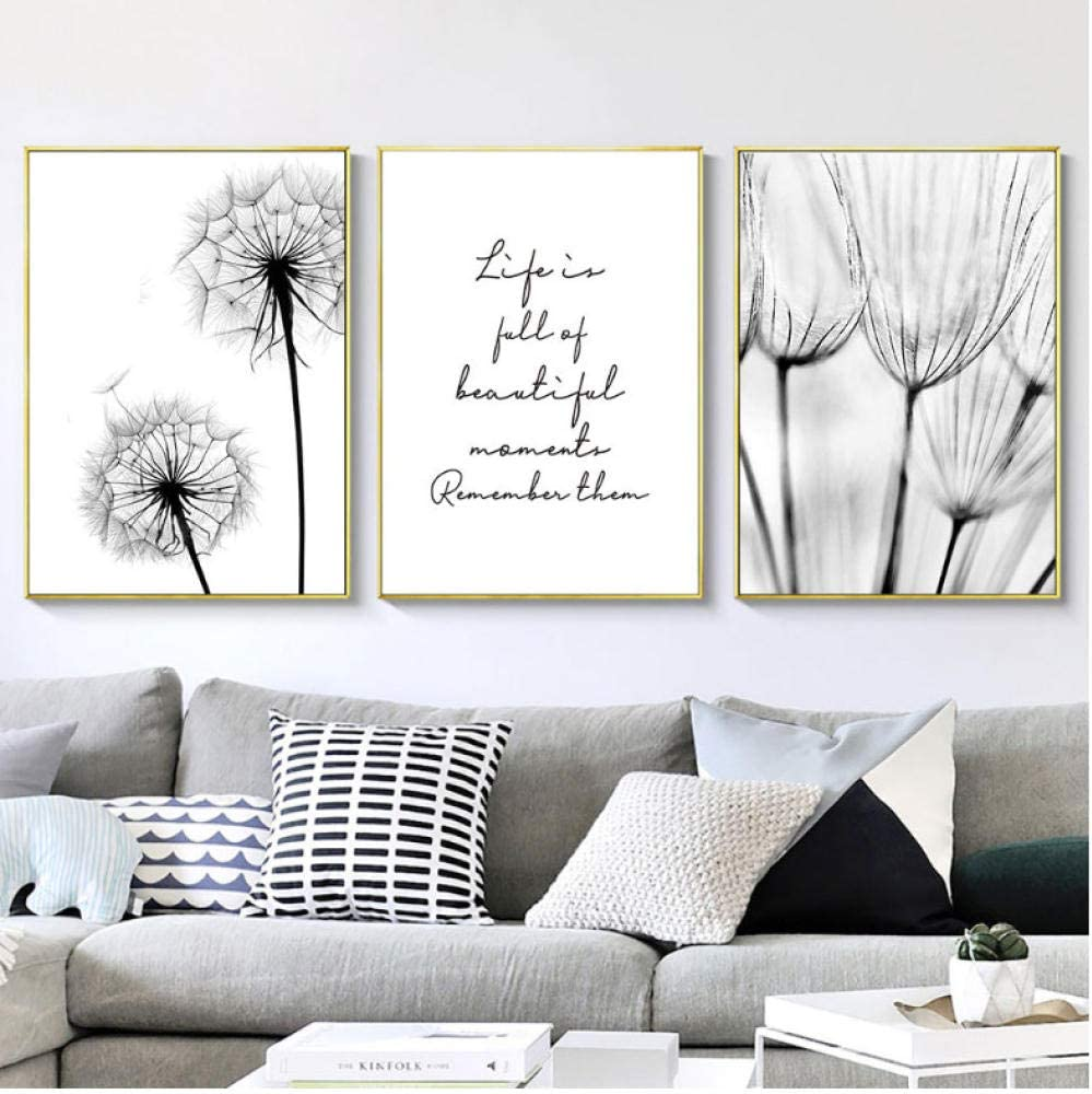 Amazon Com Black And White Pictures Dandelion Painting Canvas Canvas Art Print Nordic Dandelion Poster Wall Art Bedroom Decoration 42x60cmx3 No Frame Posters Prints
