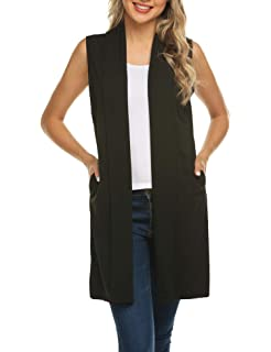 0e38483798e5fb Womens Long Vests Sleeveless Draped Waterfall Lightweight Open Front  Cardigan Vest with Side Pockets (S