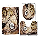 3 Piece Bathroom Mat Set,Compass,Vintage Navigation Voyage Theme Lifestyle Image with Sextant and Compass Discovery Tools,Cream,Bath Mat,Bathroom Carpet Rug,Non-Slip