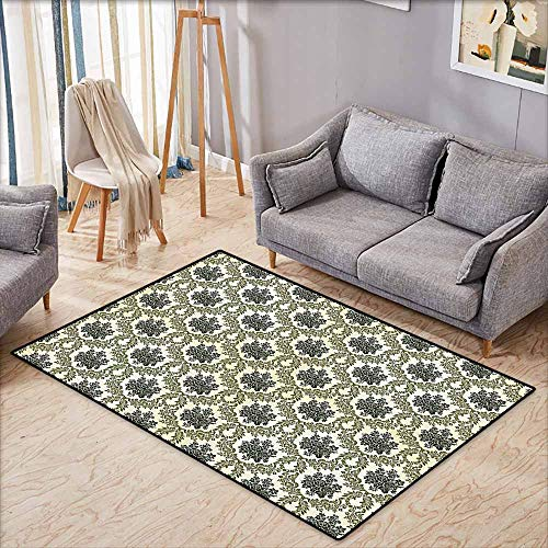 (Interior Door Rug Bathroom Rug Slip Damask Decor Collection Vintage Floral Damask Brocade with Abstract Bouquet Greenery Pattern Artwork Print Green Beige Anti-Fading W5'9 xL3'9)