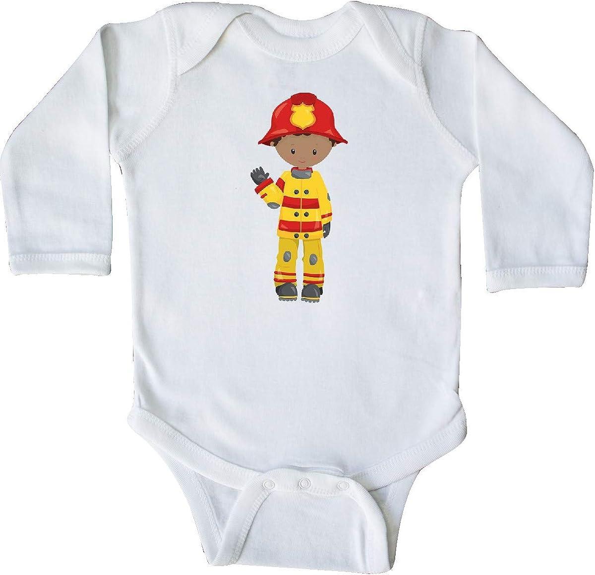 Fireman Firefighter Long Sleeve Creeper inktastic African American Boy