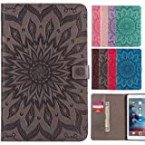LEMORRY Apple iPad 2 / iPad 3 / ipad 4 Case Leather Flip Wallet Pouch Slim Fit Bumper Protection Magnetic Strap Stand Card-Slot Soft TPU Tablet PC Holster Cover for iPad2 iPad3 iPad4, Blossom (Gray)