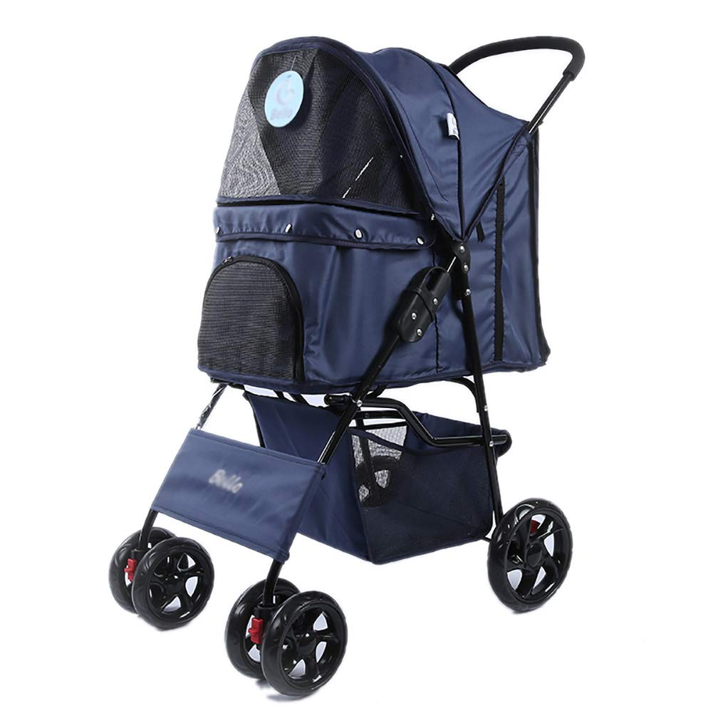 bluee MMM@ Pet Trolley, Lightweight Folding Pet Stroller Dog Cat Teddy Cart Cage Four-wheel Outdoor Travel Supplies trolley (color   Dark bluee)