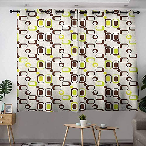 DGGO Blackout Curtains Panels,Geometric Geometric Pattern with Rectangle Shapes Vintage Inspired,Great for Living Rooms & Bedrooms,W72x63L Chestnut Brown Apple Green Cream