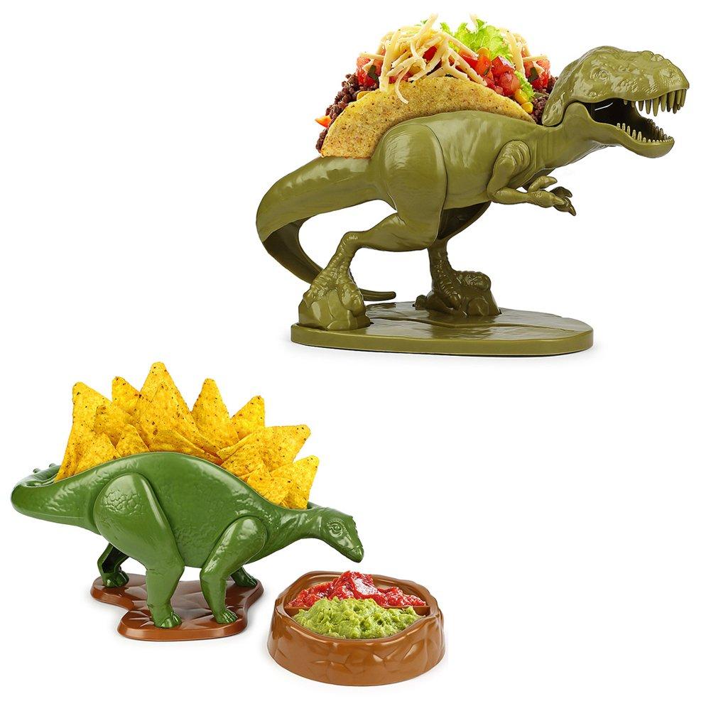 (Set) Nachosaurus w/Dip Bowl & Tacosaurus Rex Holder - Prehistoric Appetite JOHNSON SMITH