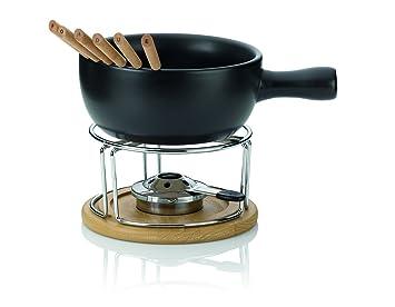 kela Natura - Juego de fondue de queso, 10 piezas, color negro: Amazon.es: Hogar