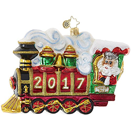 "Christopher Radko 2017 All Aboard! Train Themed Santa Glass Christmas Ornament - 5""L."