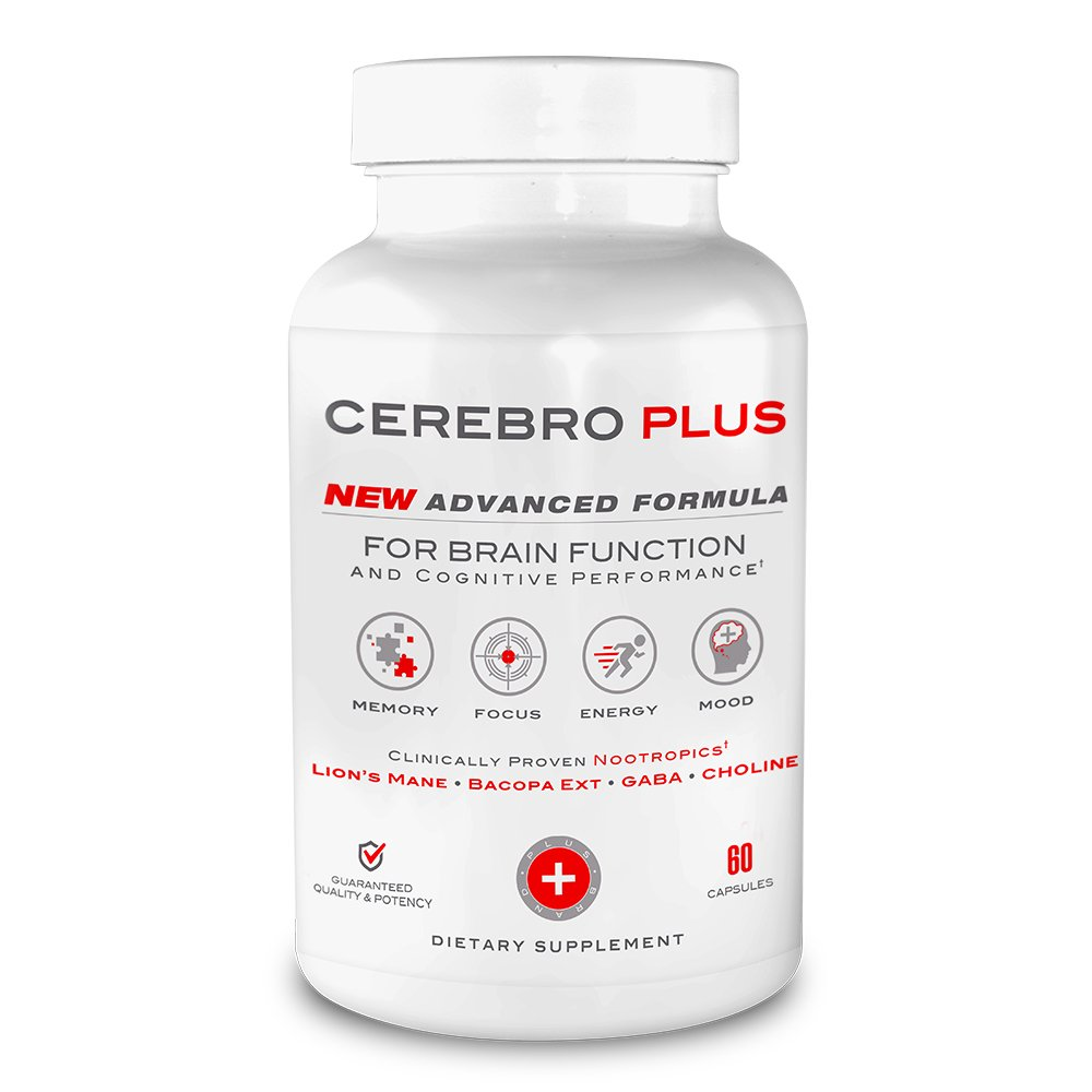 Cerebro Plus - Brain Health and Cognitive Performance Enhancing Supplement | 1-Month Supply (60 Ct)