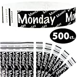 Goldistock 3/4'' Tyvek Wristbands Monday 500 Count (Black)