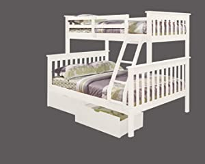 Donco Kids Mission Bunk Dual Under Bed Drawers, Twin/Full, White