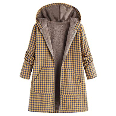 Celiy Women Winter Warm Outwear Zipper Plaid Print Pocket Vintage Oversize Coat (S, Pink