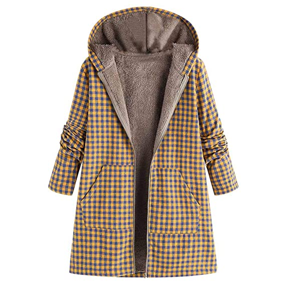 Amazon.com: Celiy Women Winter Warm Outwear Zipper Plaid Print Pocket Vintage Oversize Coat: Clothing