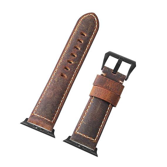 enorme sconto 1e4db 9d113 Per cinturini Apple Watch da 42 mm, cinturino orologio vintage cinturino in  pelle Pre-V fibbia di ricambio per la serie Iwatch 3/2/1 Sports Edition ...