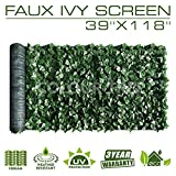 ColourTree Artificial Hedges Faux Ivy Leaves Fence Privacy Screen Panels  Decorative Trellis - 39'' x 118'' - Mesh Backing - 3 Years Full Warranty